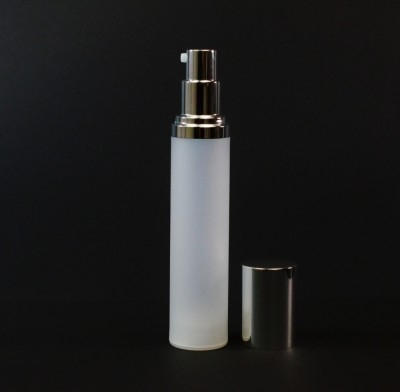 50 ml Airless Frosted Bottle Shiny Silver Pump and Hood PP
