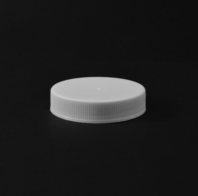 48/400 White Ribbed Straight PP Cap / PS Liner - 1700/Case