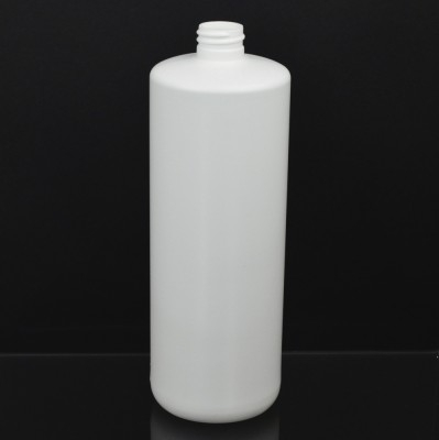 32 oz 28/410 Tall Cylinder Round White HDPE Bottle