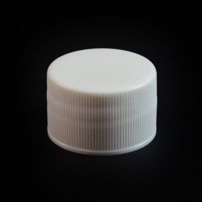 28/410 White Ribbed Straight PP Cap / Unlined