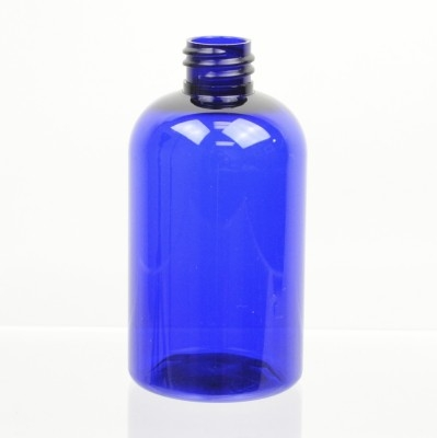 4 oz 20/410 Squat Boston Round Cobalt PET Bottle