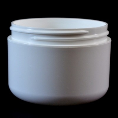 8 oz 89/400 Double Wall Round Base White PP Jar