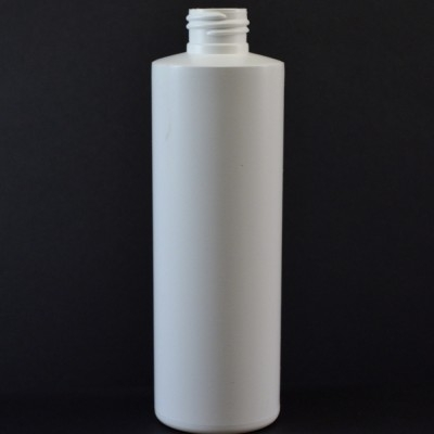8 oz 24/410 Cylinder Round White HDPE Bottle
