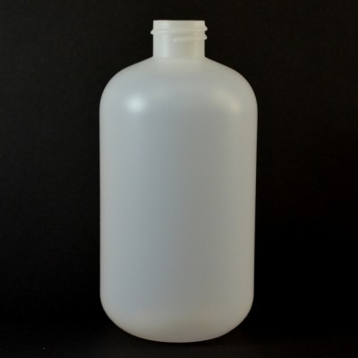 16 oz 28/410 Boston Round Natural HDPE Bottle