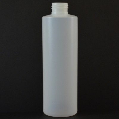 8 oz 24/410 Cylinder Round Natural HDPE Bottle
