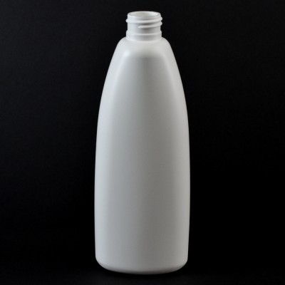 10 oz 24/410 Teardrop Oval White HDPE Bottle