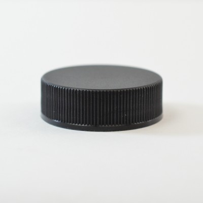 48/400 Black Ribbed Straight PP Cap / PS Liner - 1700/Case