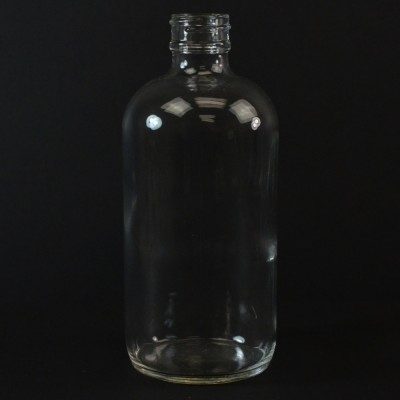 8 oz Boston Round 24/400 Clear Glass Bottle