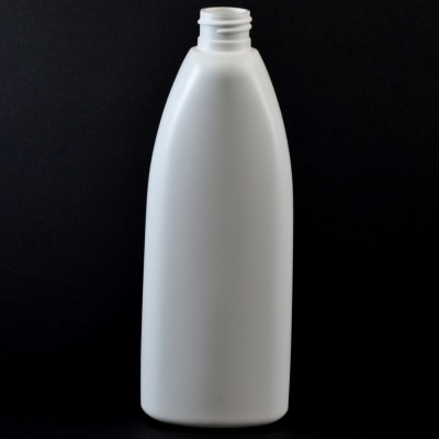 12 oz 24/410 Teardrop Oval White HDPE Bottle
