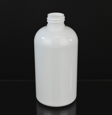 8 oz 24/410 Squat Boston Round White PET Bottle