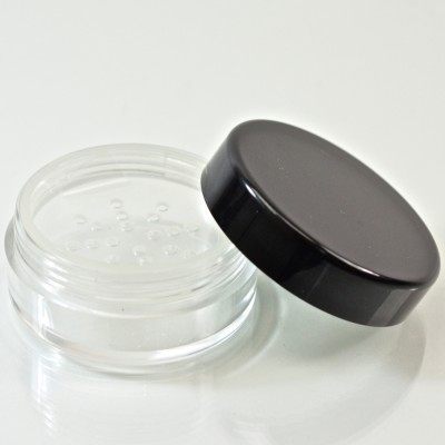 0.5 oz. 45/400 Clear with Black Cap Cosmetic Powder Jar