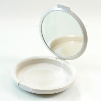 Compact XL Round ABS White with Mirror Pinned-Hinge 3.800