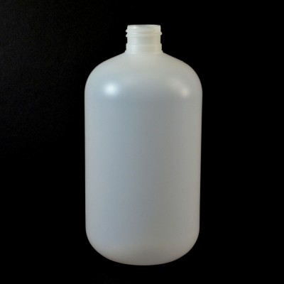 16 oz 24/410 Boston Round Natural HDPE Bottle