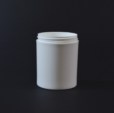 8 oz 70/400 White Thick Wall Straight Base PP Jar