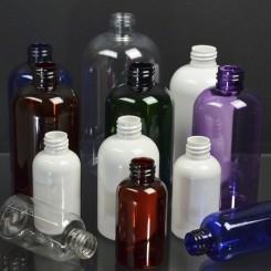 Squat Boston Round Plastic Bottles