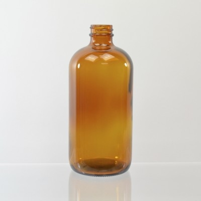 16 oz Boston Round 28/400 Amber Glass Bottle