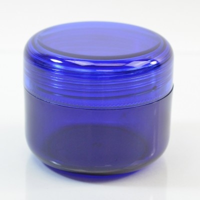 2 oz 53 MM Cobalt Blue Thick Wall Round Base SAN Jar