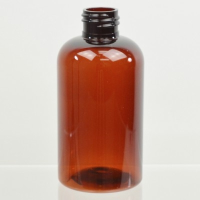 6 oz 24/410 Squat Boston Round Amber PET Bottle