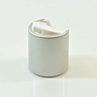 20/410 White/Matte Silver Metal Overshell Dispensing Cap PP/Aluminum