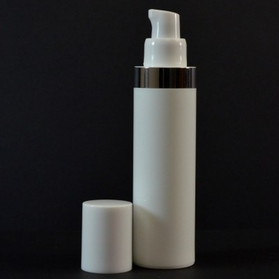 50 ml Airless White Bottle with Shiny Silver Band