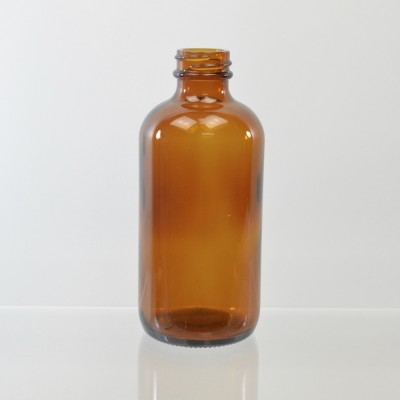 8 oz Boston Round 24/400 Amber Glass Bottle
