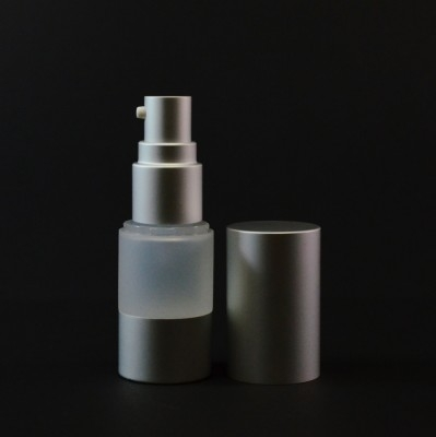 30 ml Airless Frosted Bottle with Matte Silver Pump And Hood  - 1000/case