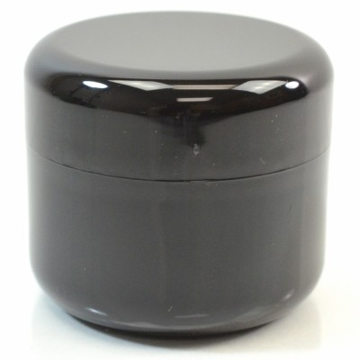 4 oz 70 MM Black Thick Wall Round Base SAN Jar