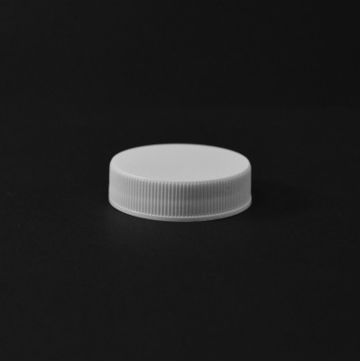 38/400 White Ribbed Straight PP Cap / Unlined - 2900/Case