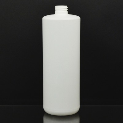32 OZ 28/410 Short Cylinder Round White HDPE Bottle  - 128/case