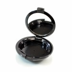 Compact Small Round ABS Black with Mirror Pinned-Hinge 1.850