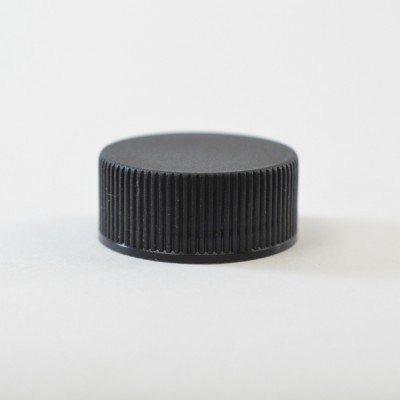 22/400 Black Ribbed Straight PP Cap / Unlined - 8500/Case