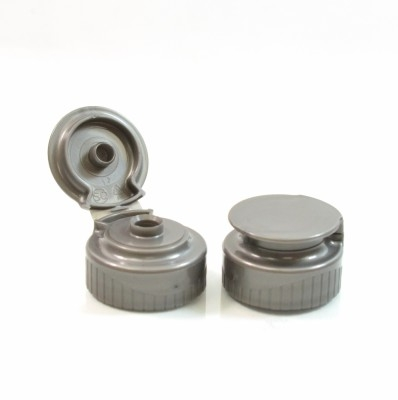 28/400 Ribbed Grey Snaptop Dispensing PP Cap