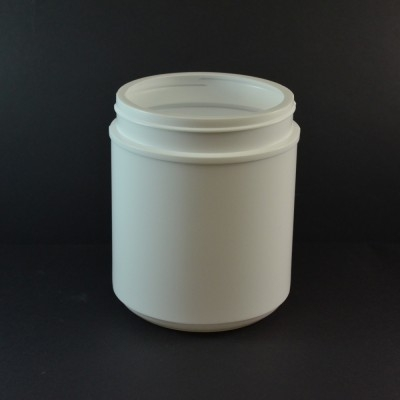 55 oz 120/400 White HDPE Wide Mouth Regular Wall Straight Sided Jar