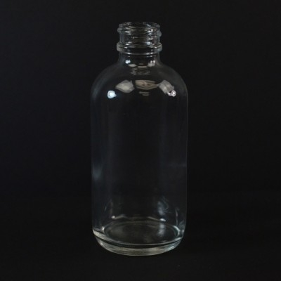 4 oz Boston Round 22/400 Clear Glass Bottle