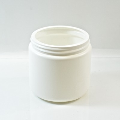 16 oz 89/400 White HDPE Wide Mouth Regular Wall Straight Sided Jar