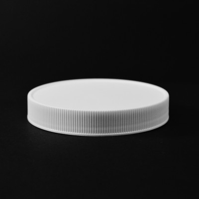 89/400 White Ribbed Straight PP Cap / PS Liner - 580/Case