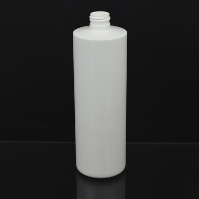 16 oz 24/410 Cylinder Round White HDPE Bottle