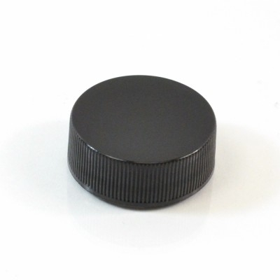 28/400 Black Ribbed Straight PP Cap / Unlined - 5000/Case