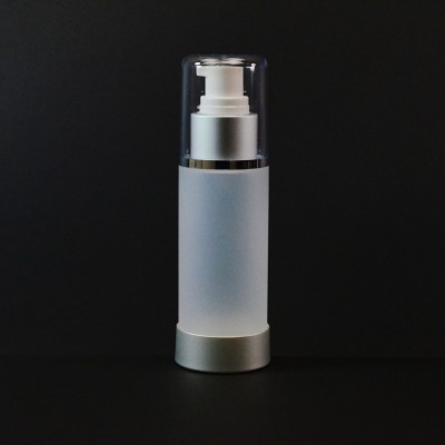 100 ml Airless Frosted Bottle Matte Silver Collar with Clear Hood