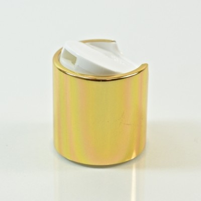 24/410 White/Gold Metal Overshell Dispensing Cap PP/Aluminum
