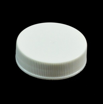 38/400 White Ribbed Straight PP Cap / Unlined