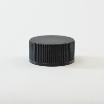 20/400 Black Ribbed Straight PP Cap / Unlined - 10250/Case