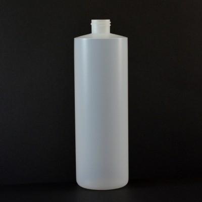 16 oz 24/410 Cylinder Round Natural HDPE Bottle