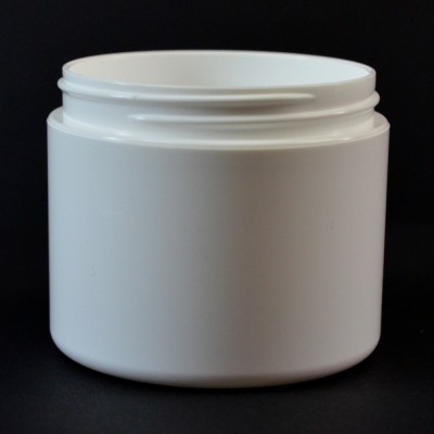 4 OZ 70/400 Double Wall Straight Base White PP Jar - 198/Case