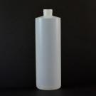 16 OZ 24/410 Cylinder Round Natural HDPE Bottle  - 240/case