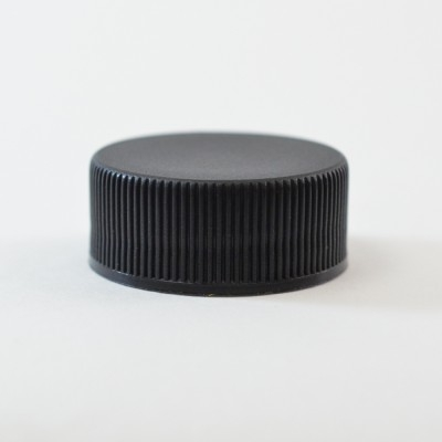 28/400 Black Ribbed Straight PP Cap / PS Liner - 5000/Case