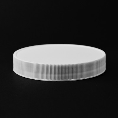100/400 White Ribbed Straight PP Cap / Unlined