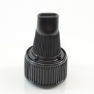 24/410 Black Ribbed Dispensing Cap Twist Open PP