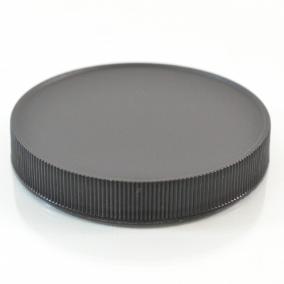 89/400 Black Ribbed Straight PP Cap / Unlined - 580/Case