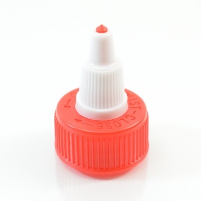 24/410 Red-White Dispensing Cap Twist Open Ribbed PP